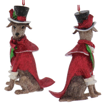 Dickens - Early American Dog Male Whippet Ornament front back