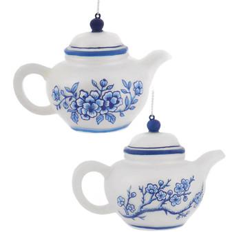 Delft Blue and White Colors Glass Teapot Ornament