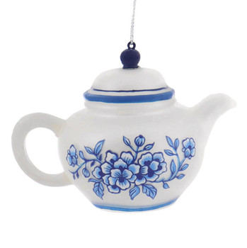 Delft Blue and White Colors Glass Teapot Ornament vine right side