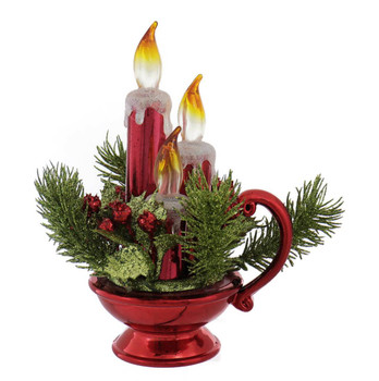 Battery Operated Chamberstick with Lighted Candles Shelf Decor
