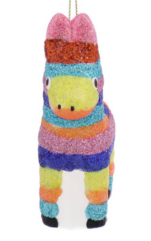 Mexico Colors Donkey Pinata Glass Ornament front