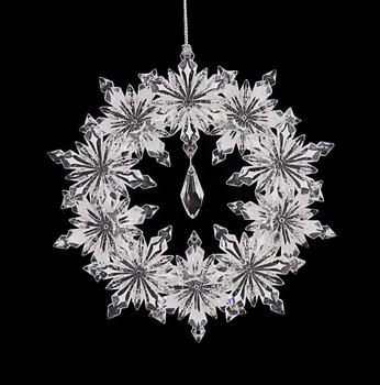 Clear Acrylic Snowflake Wreath Ornament front