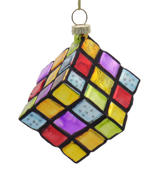 Brain Teaser Rubik Styling Puzzle Cube Glass Ornament Front