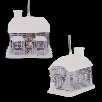 Lighted Clear and White Cottage Ornament front side