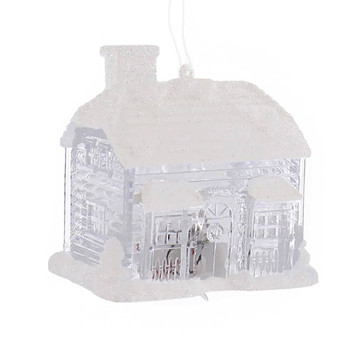 2 pc Lighted Cottage and Church Ornament cottage front
