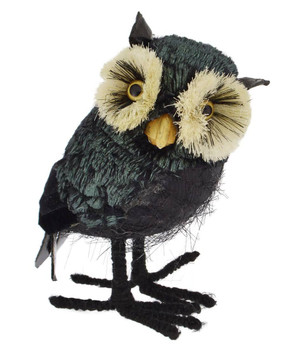 Mid-Sized Bristle Eyes Black Owl Halloween Figurine facing right front