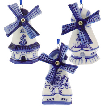 Set of 3 Delft Style Blue, White Windmill Ornaments
