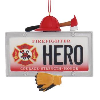 Hero Firefighter License Plate Ornament