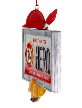 Hero Firefighter License Plate Ornament side front