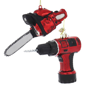 Set of 2 Power Tools Glass Ornaments
