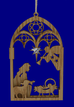 """Stained Wood Nativity Ornament, 5 1/4 - 5 1/2"""", KAD2513"""