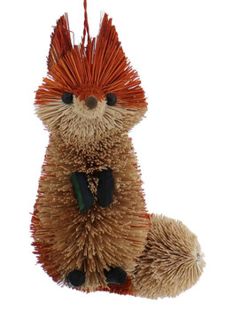 Woodland Buri Bristle Sitting Red Fox Ornament