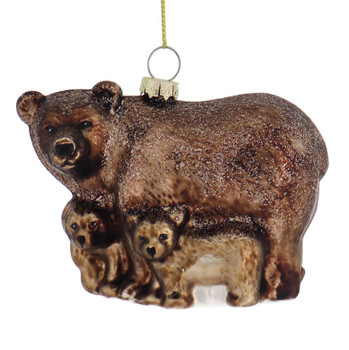 Protective Brown Bear with Cubs Glass Ornament