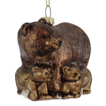 Protective Brown Bear with Cubs Glass Ornament front