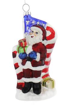 Proud American Santa Glass Ornament