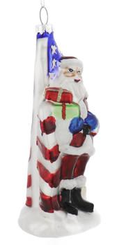 Proud American Santa Glass Ornament  side