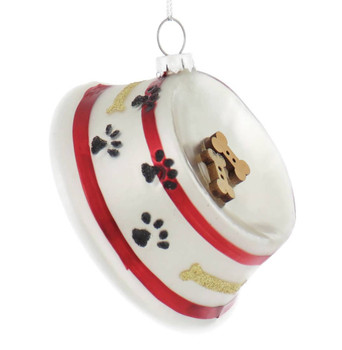 Dog Bowl with Bones Glass Ornament