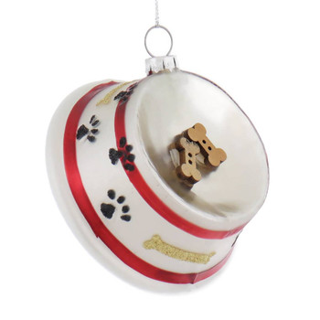 Dog Bowl with Bones Glass Ornament front side