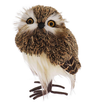 Soft Yarn and Feathers Brown Owl Figurine
