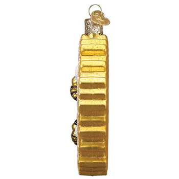 Bees on Honeycomb Glass Ornament Ornament side