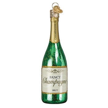 Champagne Bottle Glass Ornament Ornament