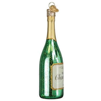 Champagne Bottle Glass Ornament Ornament side