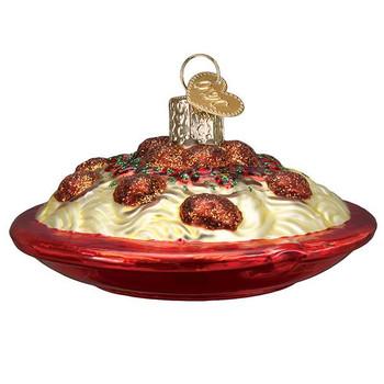 Spaghetti And Meatballs Glass Ornament Ornament