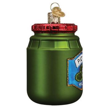 Jar of Pickles Glass Ornament Ornament side