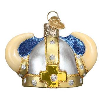 Viking Helmet Glass Ornament Ornament