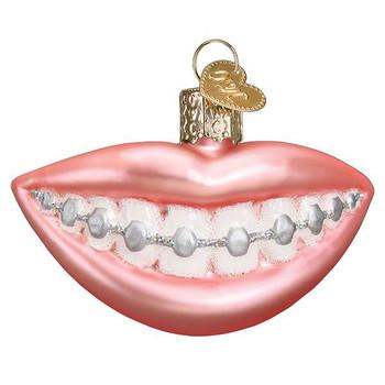 Dental Braces Glass Ornament Ornament