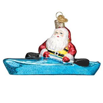 Santa In Kayak Glass Ornament Ornament