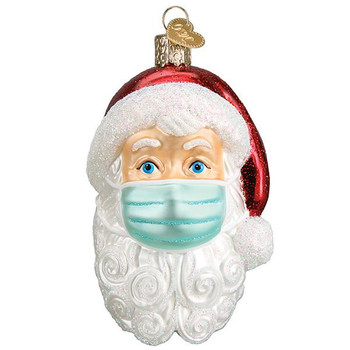Santa With Face Mask Glass Ornament Ornament 40319