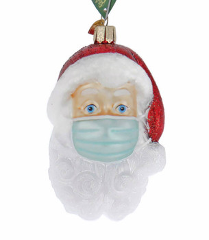 Santa With Face Mask Glass Ornament Ornament 40319 front