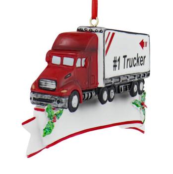 Personalizable #1 Semi Trucker Ornament side