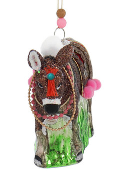Highlands Brown Donkey Glass Ornament front