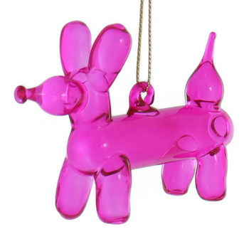Balloon Animal - Pink Balloon Dog Glass Ornament left side front