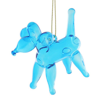 Balloon Animal - Poodle Balloon Glass Ornament front