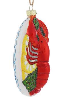 Lobster Dinner Platter Glass Ornament right side