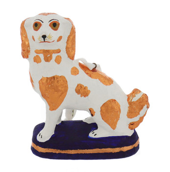 Paper Mache Art Vintage Spaniel Dog Figurine Ornament front