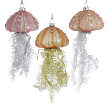Set of 3 Tinsel Tentacles Glass Jellyfish Ornament