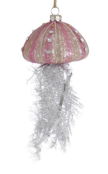 Set of 3 Tinsel Tentacles Glass Jellyfish Ornament purple front