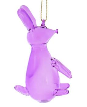 Balloon Animal - Purple Rabbit Balloon Glass Ornament