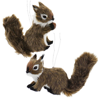Set of 2 Furry Brown Woodland Squirrel Ornament