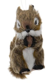 Set of 2 Furry Brown Woodland Squirrel Ornament Nut Front