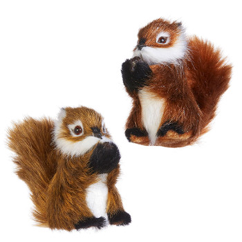 """Set of 2 Fluffy Tail Furry Woodland Squirrel Ornament, 4"""", RA4050100 SET"""