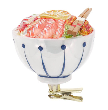 Clip On Seafood Poke Bowl Glass Ornament with Chop Sticks