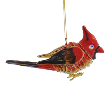 Articulated Enameled Copper Cardinal Ornament