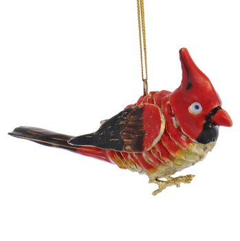 Articulated Enameled Copper Cardinal Ornament left side