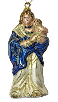 "Cloisonne Madonna and Child Jesus Ornament, 5 1/8"", KU14671"