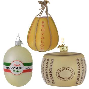 "Set of 3 Italian Deli Cheese Glass Ornaments, 3 - 3 1/2"", KANB1212 SET"